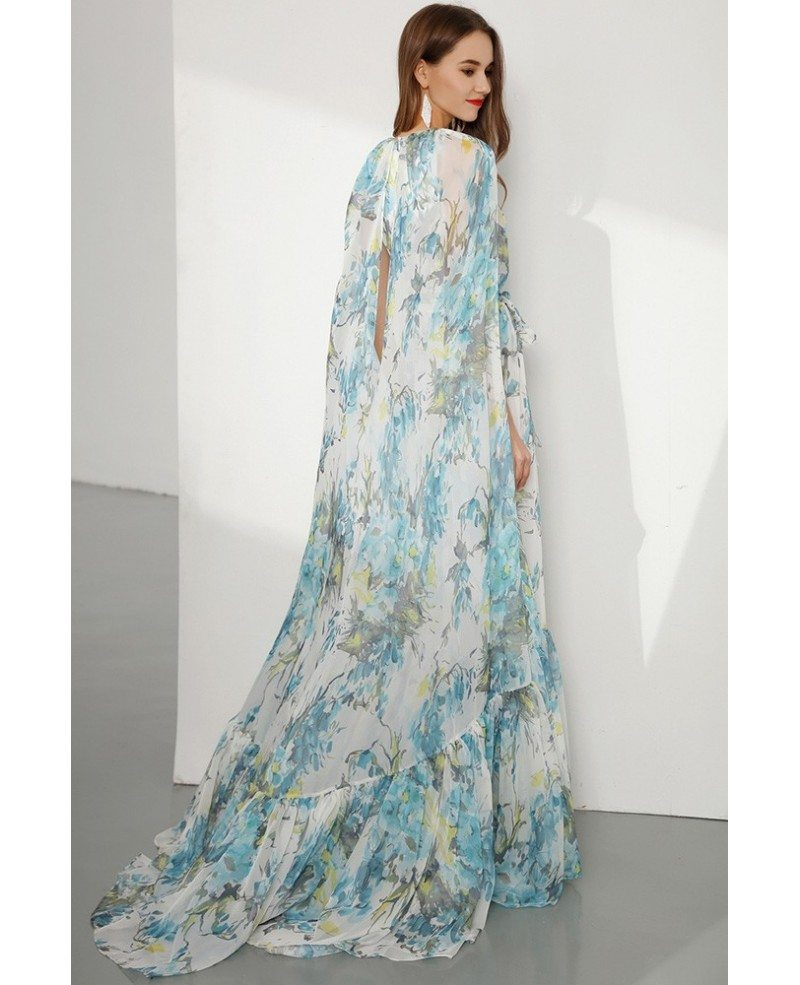 Floral Printed Chiffon Long Prom Dress Sleeveless For Formal ...