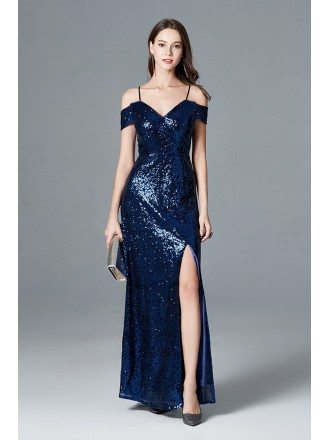 Sexy Sparkly Navy Blue Sequined Slit Prom Dress With Off Shoulder Straps