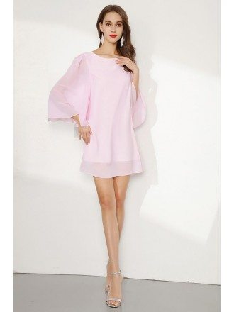 Blush Pink Simple Chiffon Cocktail Prom Dress With Dolman Sleeves