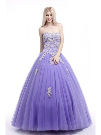 Ball-Gown Sweetheart Sweep Train Tulle Prom Dress With Ruffles Beading Appliquer Lace