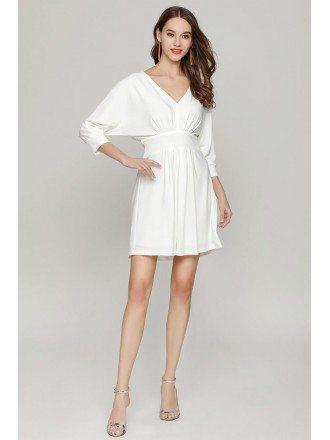 Simple Short White Dolman Sleeved Prom Dress V Neck For Girls