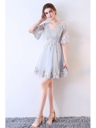 Dusty Grey Lace Short Tulle Party Dress Sheer Neckline