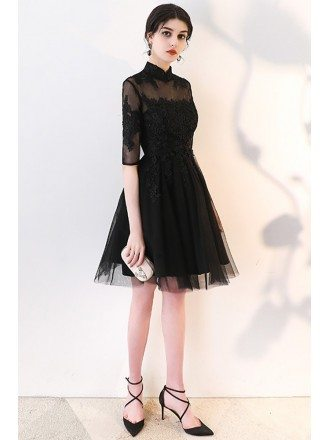 Retro Little Black Lace Homecoming Party Dress with Collar