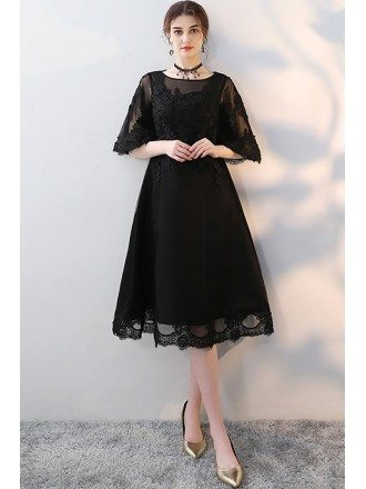 Black Knee Length Homecoming Party Dress with Sheer Sleeves