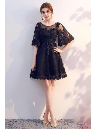 Short Black Lace Homecoming Party Dress with Sleeves