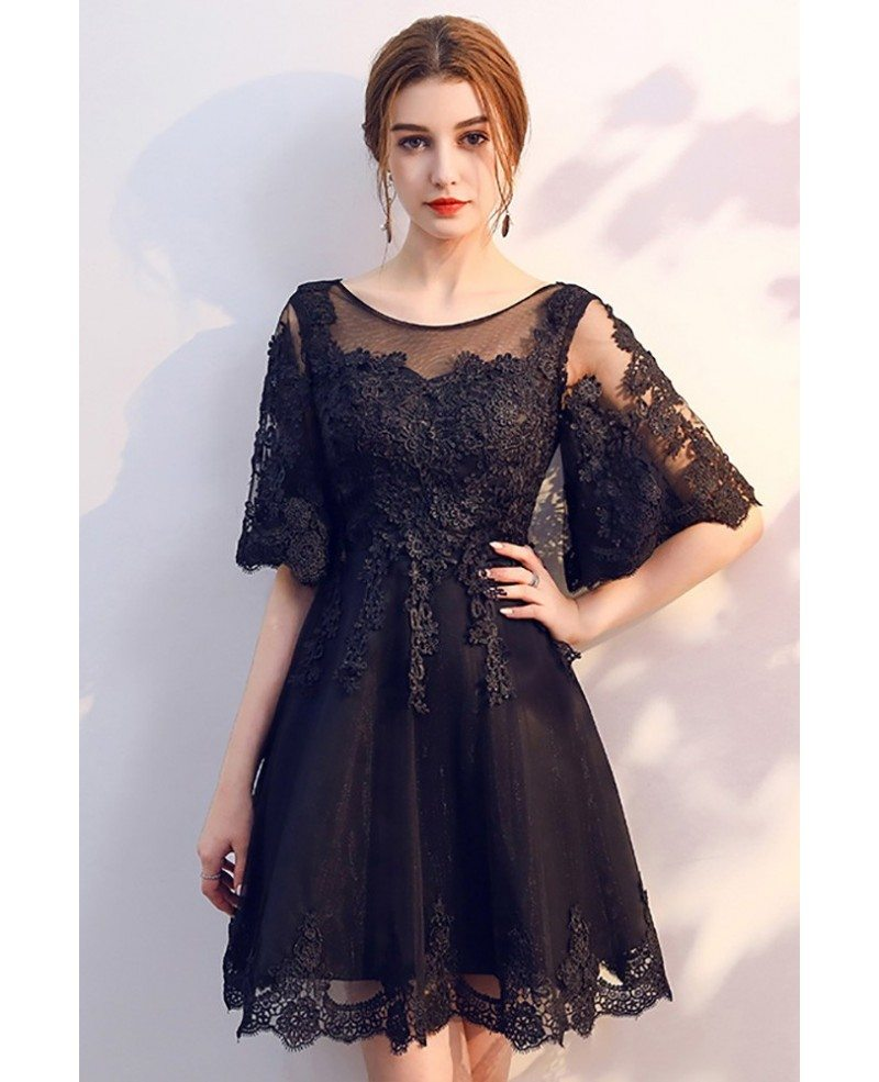 Lace Dresses With Sleeves: Short Black Lace Homecoming Party Dress With Sleeves