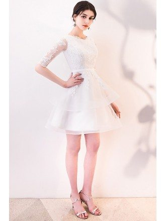Short White Lace Ruffled Party Dress with Half Sleeves
