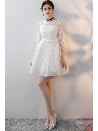 Pretty White Aline Short Homecoming Party Dress with Sleeves
