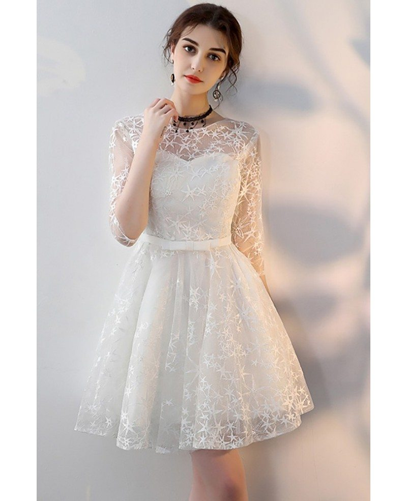 pretty white aline short homecoming party dress with