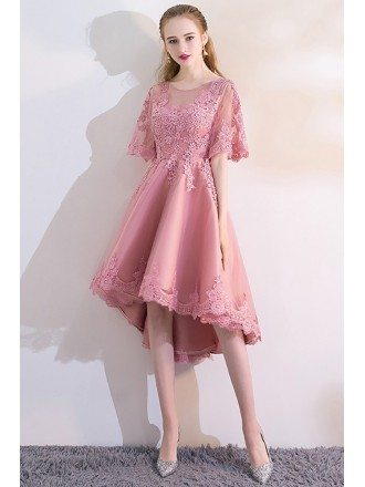Mauve Lace High Low Homecoming Party Dress with Sleeves
