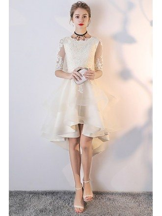 Light Champagne Lace Ruffled Wedding Party Dress with Sleeves