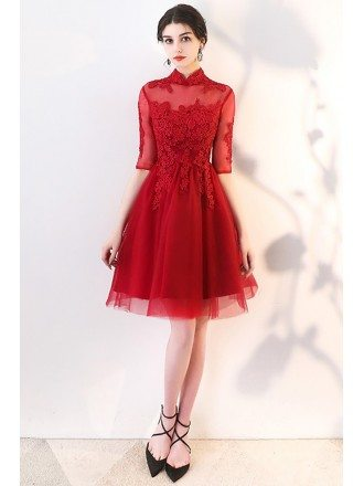 Vintage Lace Burgundy Red Homecoming Prom Dress with Collar Sleeves