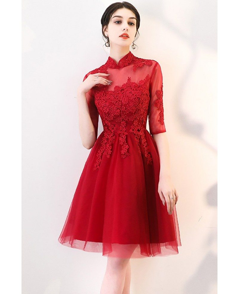 Vintage Lace Burgundy Red Homecoming Prom Dress with ... Lace Prom Dress Vintage