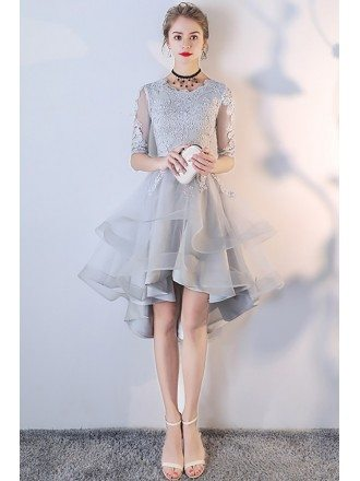 Grey Lace Ruffled Homecoming Prom Dress with Sleeves