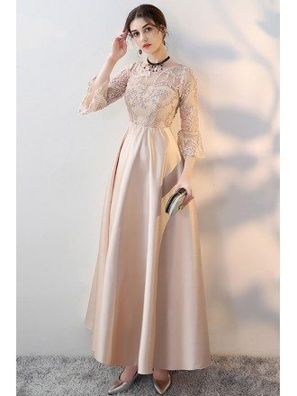 Retro Champagne Aline Long Formal Dress with 3/4 Sleeves