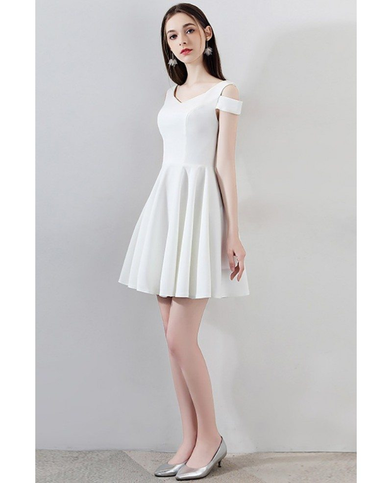 simple little white short homecoming dress aline mxl86038