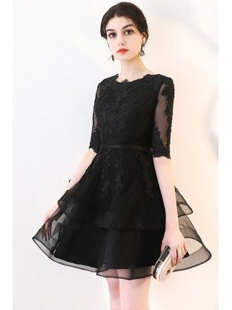 Chic Black Lace Sleeve Short Homecoming Party Dress with Ruffles