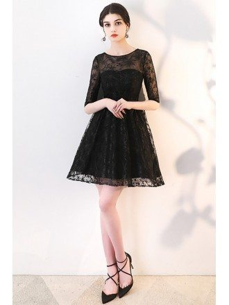 Black Lace Aline Short Homecoming Dress with Sheer Sleeves