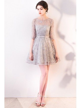 Elegant Grey Short Homecoming Dress Sheer Neckline and Sleeves