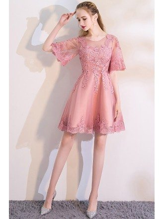 Pink Puffy Sleeves Lace Short Homecoming Dress