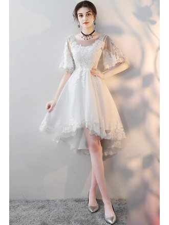Elegant White Lace High Low Party Dress with Sleeves