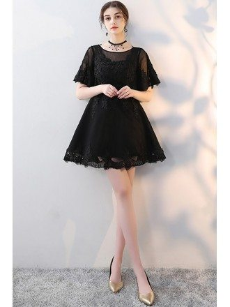 Mini Little Black Aline Lace Party Dress with Sleeves