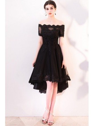 Charming Black Lace Off Shoulder Homecoming Dress High Low