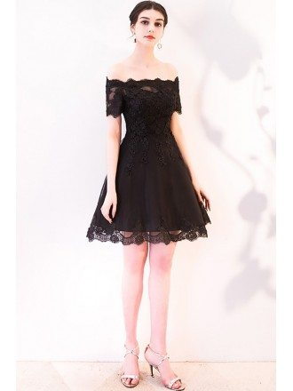 Short Black Aline Off Shoulder Homecoming Dress with Sleeves