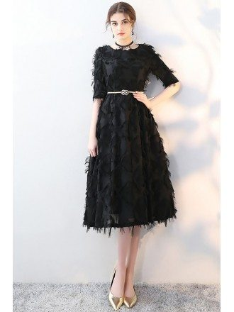 Unique Black Feathers Party Dress Tea Length with Sleeves