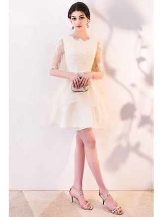 Light Champagne Lace Short Party Dress with Sleeves