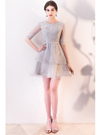 Grey Aline Lace Ruffled Short Homecoming Dress with Sleeves