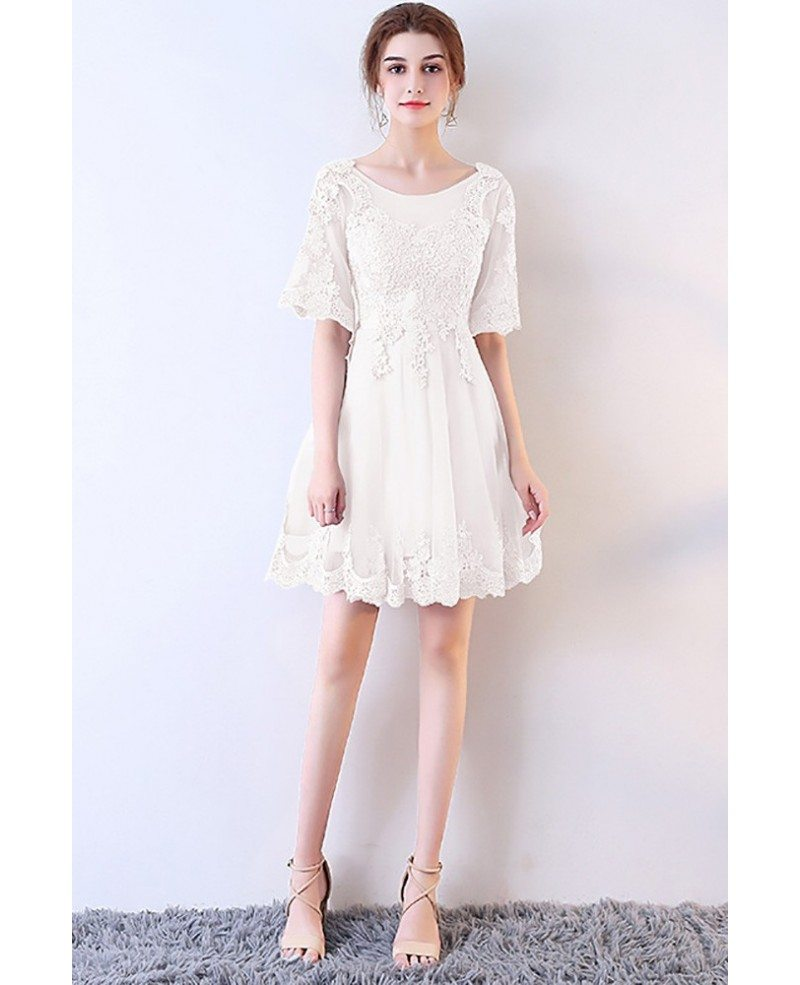 Short White Lace Aline Party Dress with Sleeves #MXL86008 ...