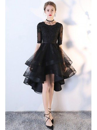 Chic Black Tulle High Low Homecoming Prom Dress with Lace