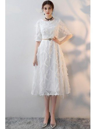 White Feathers Tea Length Party Dress with Sleeves