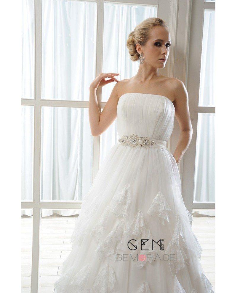 Ball-Gown Strapless Court Train Organza Wedding Dress With