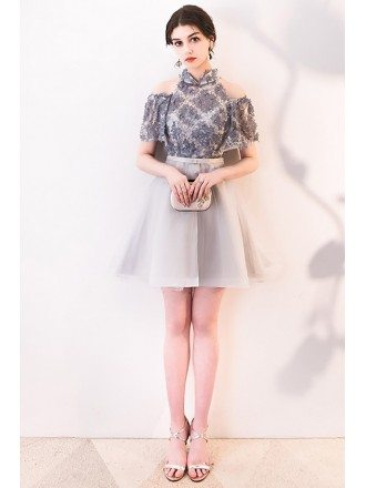 Cute Collar Grey Mini Homecoming Dress with Flowers