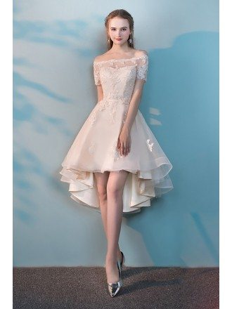 Champagne Lace Off Shoulder Wedding Party Dress High Low