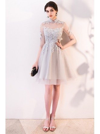 Pretty Lace Collar Tulle Homecoming Dress Short with Sleeves