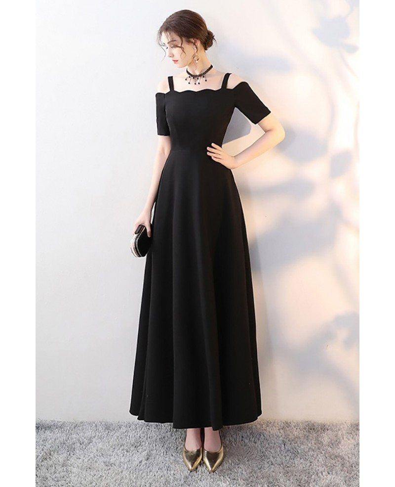 Simple Long White Dress With Sleeves Naf Dresses: Simple Long Black Formal Dress Aline With Straps Sleeves