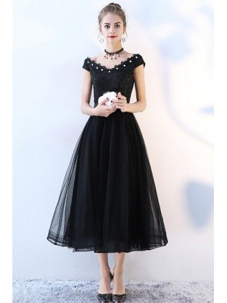 Beaded V-neck Black Tulle Party Dress Tea Length