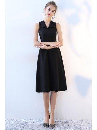 Simple Black V-neck Party Dress Knee Length