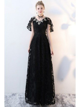 Long Black Lace Empire Formal Dress Vneck with Sleeves