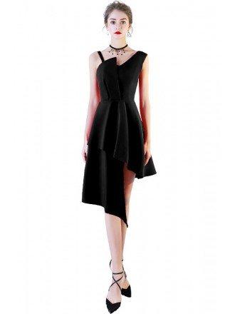 Little Black Asymmetrical Short Homecoming Dress Aline