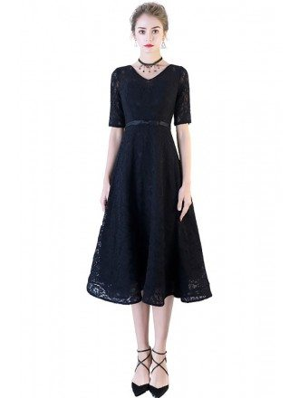 Black Full Lace Tea Length Party Dress with Sleeves