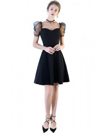 Cute Little Black Bubble Sleeve Homecoming Party Dress