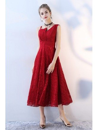 Burgundy Tea Length Lace Party Dress Sleeveless