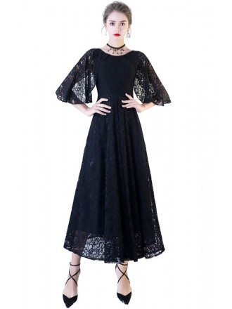 Long Black Lace Ankle Length Formal Dress with Cape Sleeves