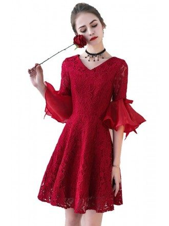 Burgundy Short Aline Lace Homecoming Party Dress Bell Sleeves