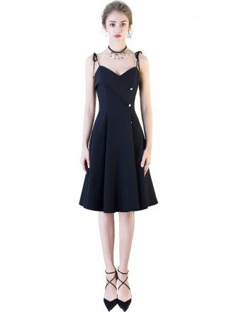 Chic Black Short Dress with Buttons Spaghetti Straps