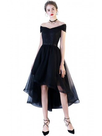 Black Off Shoulder Homecoming Party Dress High Low with Bow in Back